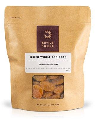 BULK POWDERS™ Getrocknete ganze Aprikosen sind ein besonders köstlicher Snack für zwischendurch oder für unterwegs.Aprikosen liefern auf natürliche Weise viel Energie und sind dennoch kohlenhydratarm. Sie sind außerdem reich an Vitaminen