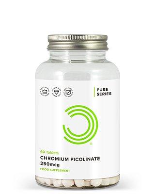 BULK POWDERS™ Chrom-Picolinat-Tabletten enthalten eine Kombination aus Chrom und Picolinsäure. Chrom-Picolinat bietet nicht nur die höchste Bioverfügbarkeit aller erhältlichen Chromprodukte