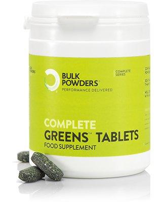 BULK POWDERS™ Complete Greens-Tabletten 1000 mg sind branchenweit das erste Produkt dieser Art. Diese fantastischen Tabletten werden ausschließlich aus 24 supergrünen Gemüsepulverprodukten hergestellt