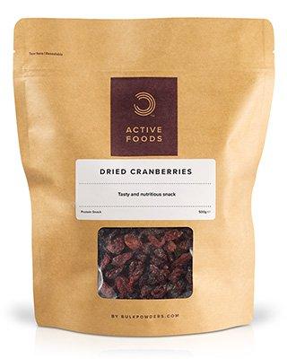BULK POWDERS™ Getrocknete Cranberries sind ein köstlicher und gesunder Snack. Sie werden aufgrund ihres hohen Anteils an Antioxidanzien oft als 'Superfrucht' bezeichnet. In der Tat gibt es praktisch keine andere Frucht- oder Gemüsesorte
