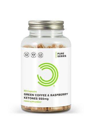 BULK POWDERS™ Rohkaffee & Himbeer-Ketone Kapseln 550 mg bieten eine wirkungsvolle Nahrungsergänzung zur Unterstützung desFettabbau
