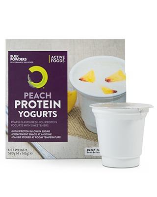 ACTIVE FOODS Protein Joghurts liefern pro Becher 15 g Protein in einem köstlich cremigen Joghurt. Mit Protein Joghurts können Sie zu jeder beliebigen Tageszeit auf bequeme Art und Weise Ihre Proteinzufuhr erhöhen.Die köstlichen Pfirsichjoghurts sind die ideale Alternative zu regulären Joghurts