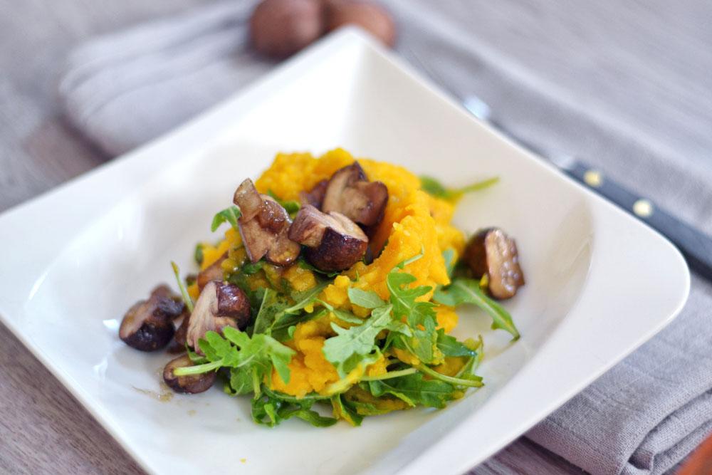 Read more about the article Kartoffel-Kürbispüree mit Pilzen- laktosefrei, vegan, glutenfrei
